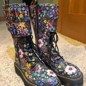 doc marten flower combat boots